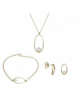 Σετ Γάμου-Αρραβώνα Χρυσό Κ14 με μαργαριτάρι SETD031715 SET031715