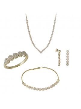 Σετ γάμου χρυσό 14Κ ροζέτα με ζιργκόν DSET032423 DSET032423
