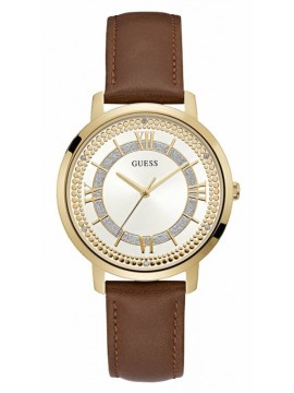 Γυναικείο ρολόι Guess Crystals Gold Brown Leather Strap W0934L3 W0934L3