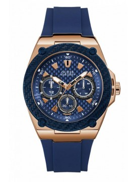 Αντρικό ρολόι Guess Rose Gold Blue Rubber Strap W1049G2 W1049G2