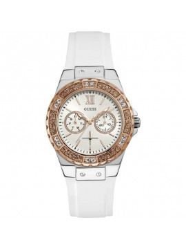 Guess ρολόι Crystals Rose Gold White Rubber Strap W1053L2 W1053L2