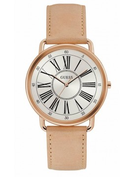 Γυναικείο ρολόι Guess Rose Gold Beige Leather Strap W1068L5 W1068L5