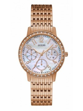 Guess ρολόι Crystals Rose Gold Stainless Steel Bracelet W1086L2 W1086L2