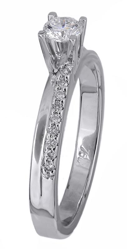 Λευκόχρυσο μονόπετρο δαχτυλίδι με διαμάντια 18Κ D012463 - Dimasis.gr b394cc4b966