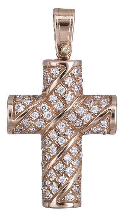 27973c8dc47 Ροζ χρυσός γυναικείος σταυρός 14Κ D020129