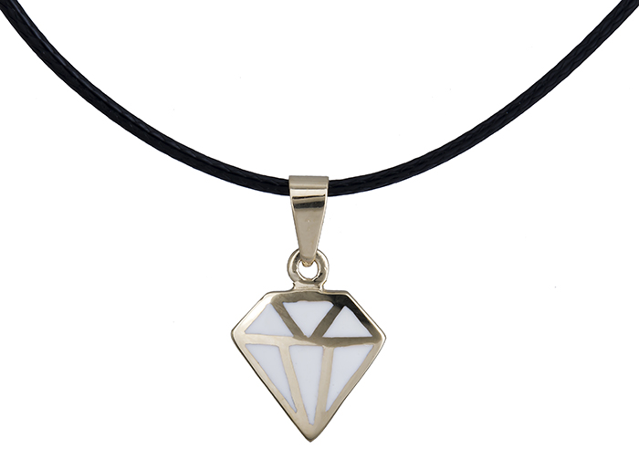 Χρυσό κρεμαστό διαμάντι Κ14 με λευκό σμάλτο και μαύρο κορδόνι ... 3a90ab93a69