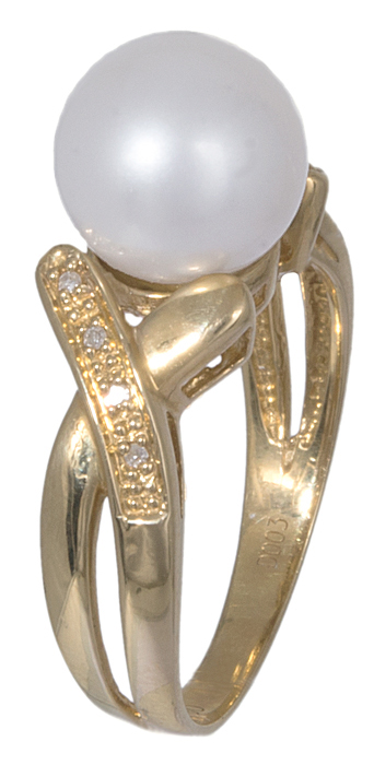 Χρυσό δαχτυλίδι 18 Καρατίων με μαργαριτάρι και μπριγιάν D020894 D020894 c0505ad707b