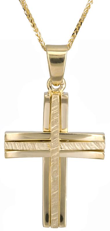 Ανδρικός χρυσός σταυρός 18Κ με αλυσίδα 14Κ D023587C - Dimasis.gr d500af6d43e