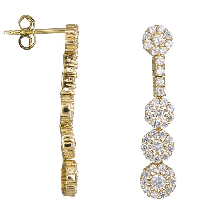 Κρεμαστά σκουλαρίκια χρυσά Κ14 στρόγγυλες ροζέτες D023811 D023811 2275e7d3ff5