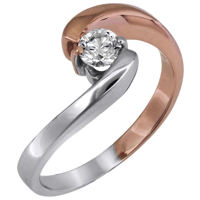 Δίχρωμο μονόπετρο δαχτυλίδι με μπριγιάν 18 καρατίων D028055 - Dimasis.gr c152c302edd