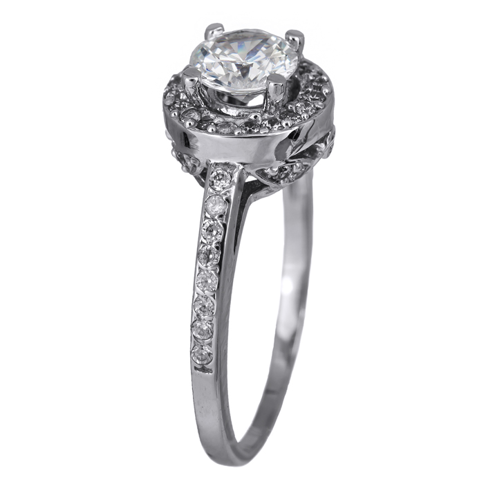 Μονόπετρο δαχτυλίδι αρραβώνα σε λευκόχρυσο με ζιργκόν 14Κ D024462 D024462 1c18d0bf680