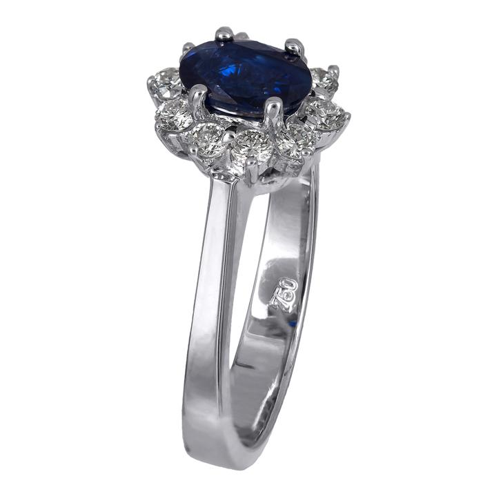 Λευκόχρυσο δαχτυλίδι ροζέτα με ζαφείρι και μπριγιάν Κ18 D024708 D024708 b9f3709bec8