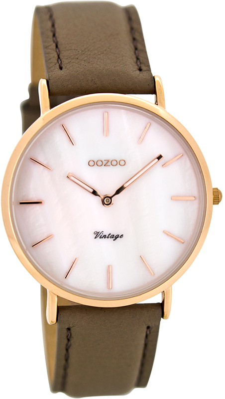 Ρολόι OOZOO Vintage Rose Gold Brown leather strap C8123 - Dimasis.gr 9baddacf997